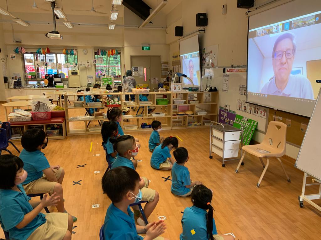Our kindergarten students watching Teachers' Day concert